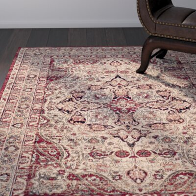 Leija Creme/Red Area Rug Rug Size: Rectangle 51 x 76