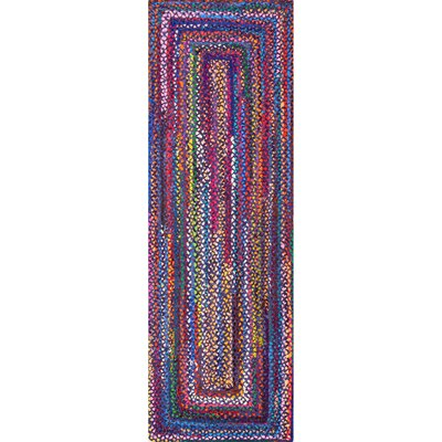 Josephine Hand-Braided Blue/Purple Area Rug Rug Size: Runner 26 x 8