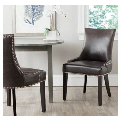 Carraway 36.4'' Side Chair Upholstery: Leather - Antique Brown