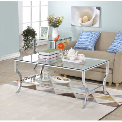 Alvar Contemporary Rectangle Coffee Table Base Finish: Chrome