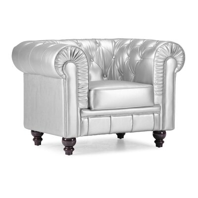 Downey Chesterfield Chair Upholstery: Silver