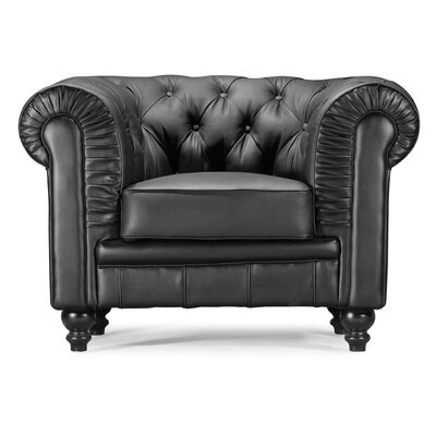 Downey Chesterfield Chair Upholstery: Black