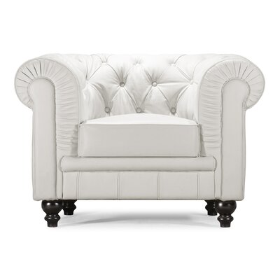 Downey Chesterfield Chair Color: White