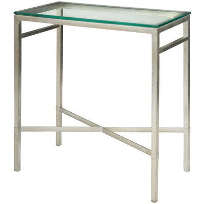 Reynaldo Rectangular Glass Top End Table Base Color: Antique Silver Gilt