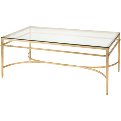 Reynaldo Rectangle Glass Top Coffee Table Base Color: Antique Gold Gilt