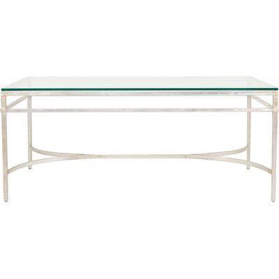 Reynaldo Rectangle Glass Top Coffee Table Base Color: Antique Silver Gilt