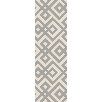 Luke Hand-Hooked Light Gray Area Rug Rug Size: Runner 26 x 8