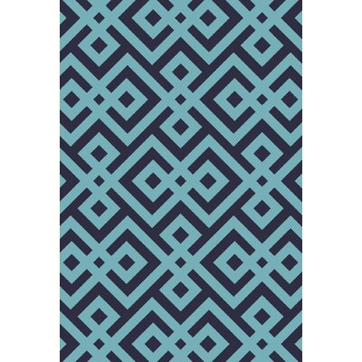 Hand-Hooked Navy Area Rug Rug Size: 5' x 7'6