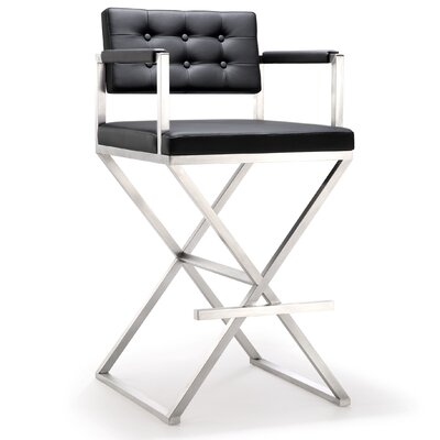 Laurenza Bar Stool Upholstery: Black, Size: Counter Stool