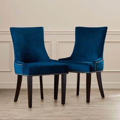 Carraway 36.4 Side Chair Upholstery: Velvet - Navy
