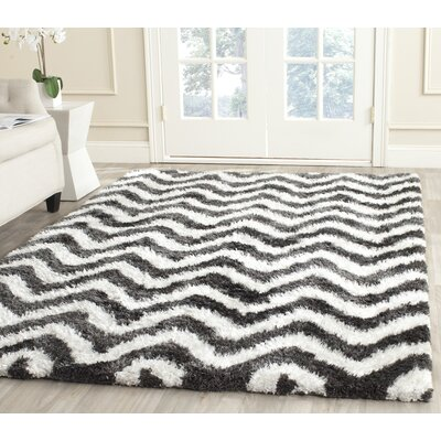 Hempstead Hand-Tufted Graphite/Ivory Area Rug Rug Size: Rectangle 5 x 8