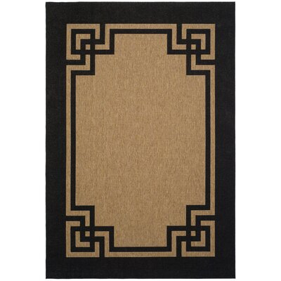Deco Frame Dark Beige / Black Area Rug Rug Size: Rectangle 53 x 77