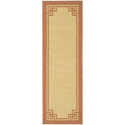 Deco Frame Beige / Terracotta Area Rug Rug Size: Runner 27 x 82