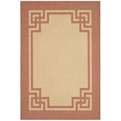 Deco Frame Beige / Terracotta Area Rug Rug Size: 53 x 77