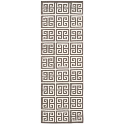Romero Hand-Woven Brown/Ivory Area Rug Rug Size: Runner 26 x 7