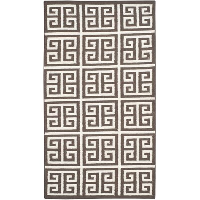 Romero Hand-Woven Brown/Ivory Area Rug Rug Size: Rectangle 3 x 5