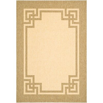 Deco Frame Beige / Dark Beig Area Rug Rug Size: Rectangle 4 x 57