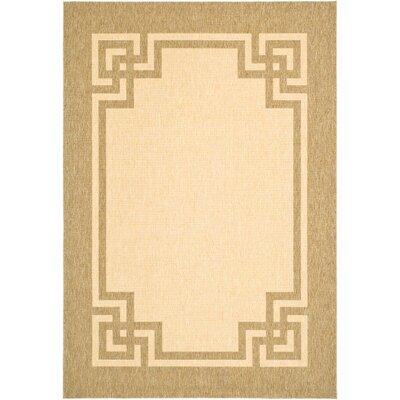 Deco Frame Beige / Dark Beig Area Rug Rug Size: 53 x 77