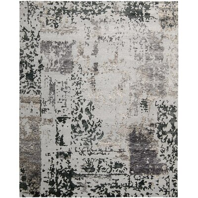 Preminger Hand-Knotted Silver/Grey Area Rug Rug Size: 99 x 139