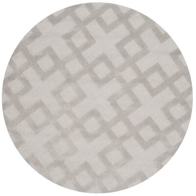 Beamond Hand-Loomed Grey Area Rug Rug Size: Round 5 x 5