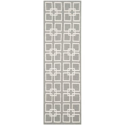 Dance Flat Weave Cement Gray Area Rug Rug Size: Runner 23 x 9