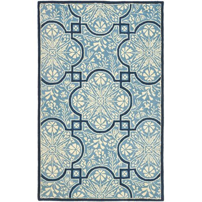 French Painted Avignon Hand-Loomed Kerry Blue Area Rug Rug Size: 5 x 8