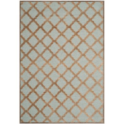Goetz Blue/Brown Area Rug Rug Size: 53 x 76