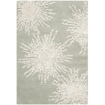 Germain Hand-Tufted Wool Grey/Ivory Area Rug Rug Size: Rectangle 6 x 9