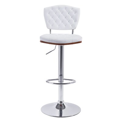 Roberdeau Adjustable Height Swivel Bar Stool Upholstery: White