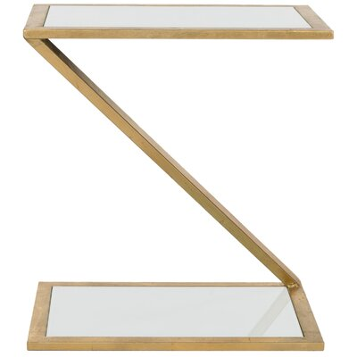 Mornington End Table Finish: Gold / White Glass