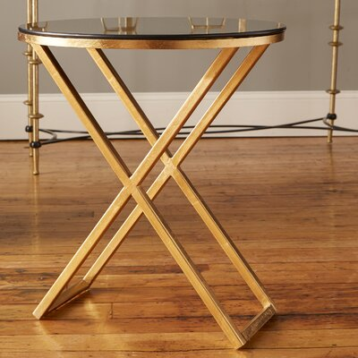 Birrell End Table Finish: Gold / Black