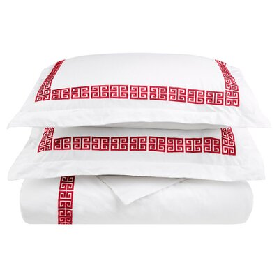Bourg Reversible Duvet Cover Set Size: Full / Queen, Color: Burgundy