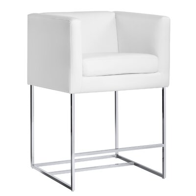 Club Agency 26 Bar Stool with Cushion Upholstery: White