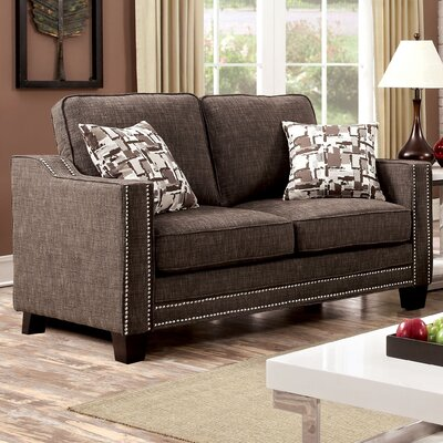 Follmer Loveseat Upholstery: Brown