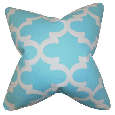 Clyburn 100% Cotton Throw Pillow Color: Sky Blue, Size: 18 x 18