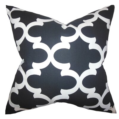 Clyburn 100% Cotton Throw Pillow Color: Black White, Size: 18 x 18