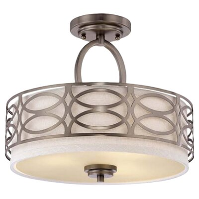 Helina 3-Light Semi Flush Mount Finish / Shade Color: Hazel Bronze / Khaki Fabric