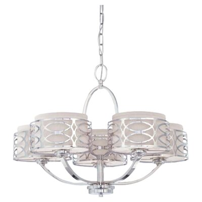 Helina 5-Light Drum Chandelier Finish / Shade Finish: Polished Nickel / Slate Gray Fabric