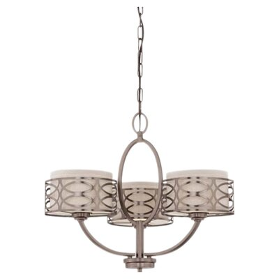 Helina 3-Light Drum Chandelier Finish / Shade Color: Hazel Bronze / Khaki Fabric