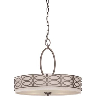 Helina 4-Light Drum Pendant Finish / Shade Color: Hazel Bronze / Khaki Fabric