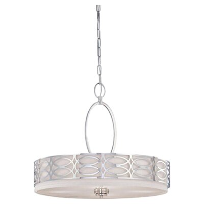 Ingo 4-Light Drum Pendant Finish / Shade Color: Polished / Nickel Slate Gray Fabric