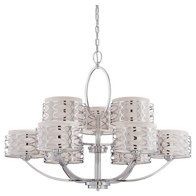 Helina 9-Light Drum Chandelier Finish / Shade Color: Polished Nickel / Slate Gray Fabric