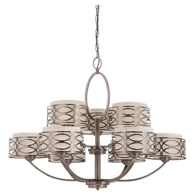 Helina 9-Light Drum Chandelier Finish / Shade Color: Hazel Bronze / Khaki Fabric