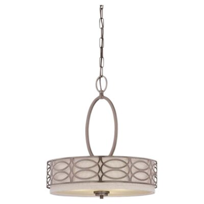 Helina 3-Light Drum Pendant Finish: Hazel Bronze Khaki Fabric