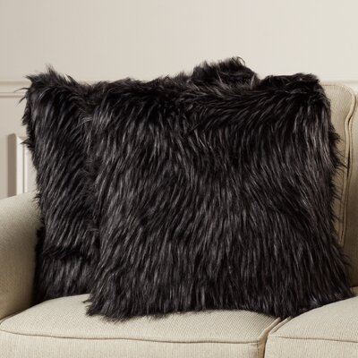 Presley Faux Fur Grizzly Suede Throw Pillow