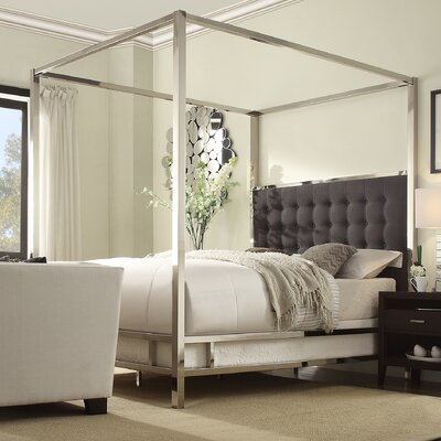 Upholstered Canopy Bed Size: Full, Upholstery Color: Dark Gray, Finish: Chrome