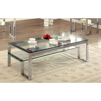 Scheider Stacked Shelf Coffee Table Color: Chrome