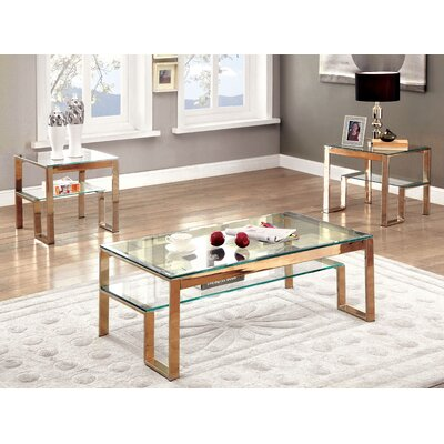 Scheider Stacked Shelf Coffee Table Color: Gold
