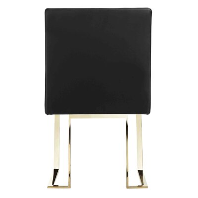 Espinoza Side Chair Upholstery: Black, Finish: Gold