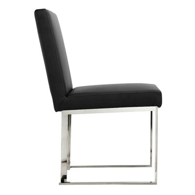 Espinoza Side Chair Upholstery: Black, Finish: Silver
